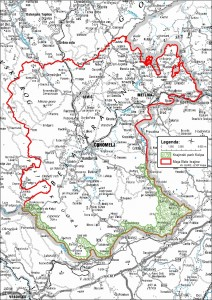 Karta-lega parka glede na mejo Bele krajine