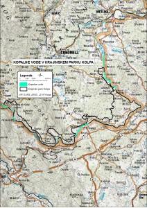 Kopalne vode v Krajinskem parku Kolpa-karta